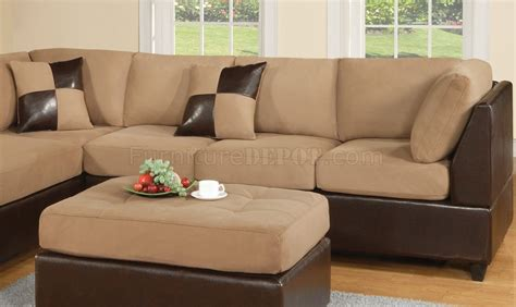 two tone sectional mocha fabric modern two tone sectional sofa w bycast base