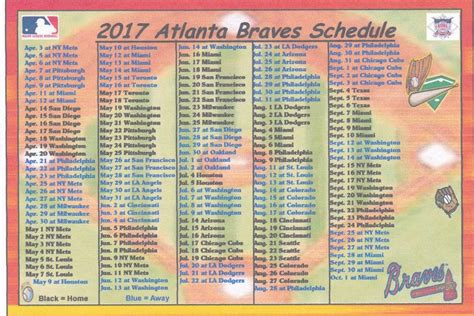 printable schedule for atlanta braves atlanta braves 2017 mlb baseball schedule fridge magnet ebay