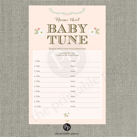 Shower Songs by Printable Name That Baby Tune Baby Shower