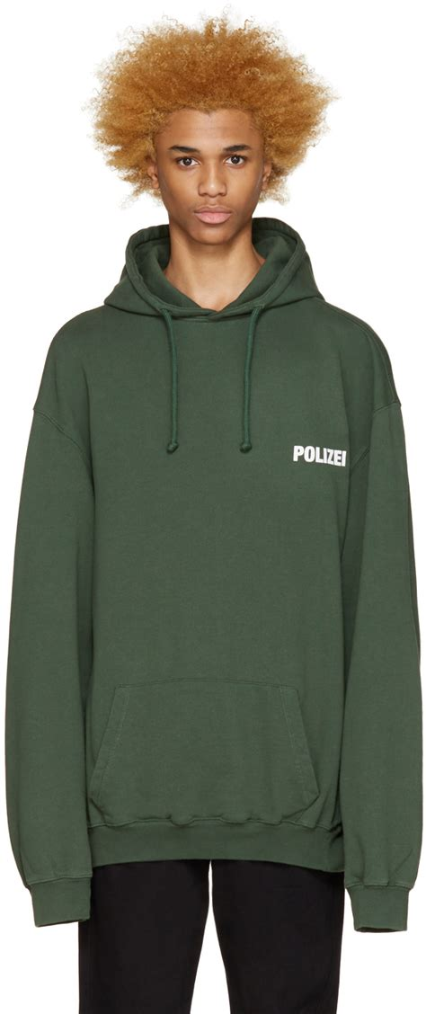 Polizei Hoodie vetements green polizei hoodie in green for lyst