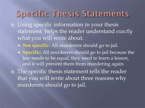 specific thesis statement ppt thesis statements topic sentences and transitions