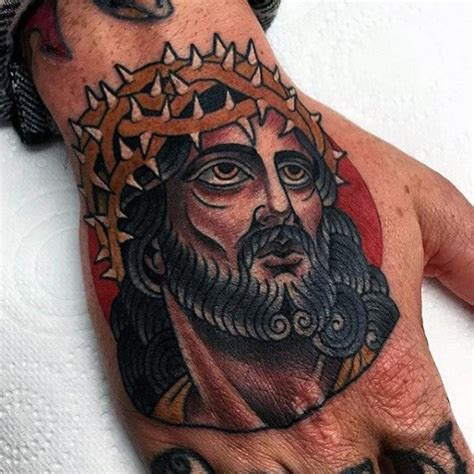 20 Jesus Hand Tattoo Designs For Men Christ Ink Ideas Jesus With Thorns Tattoos