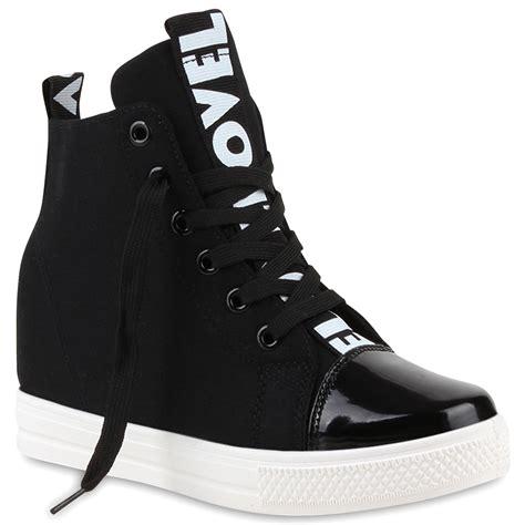 Sneakers Wedges Black White damen sneaker wedges black white keilabsatz sneakers