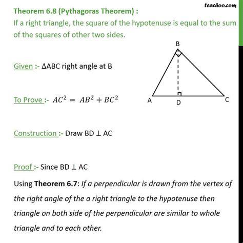 Theorem 6 8 Pythagoras Theorem Class 10 Chapter 6