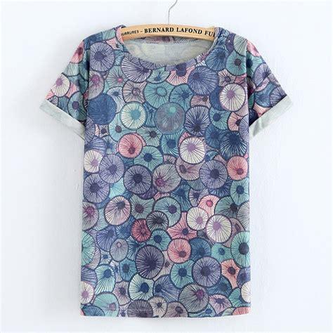 Sleeve Print Striped T Shirt crimping sleeve striped flowers print t shirt
