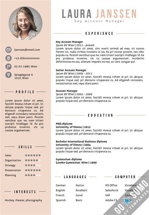 photo resume template best 25 cv template ideas on creative cv