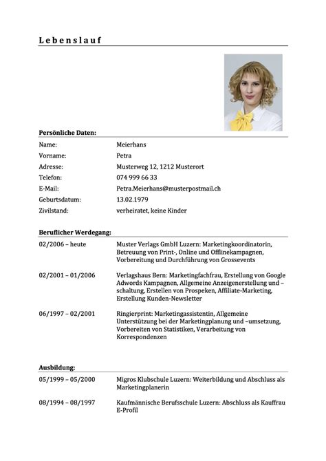 Lebenslauf Vorlage Schweiz by Lebenslauf Vorlage Muster F 252 R Deine Bewerbung