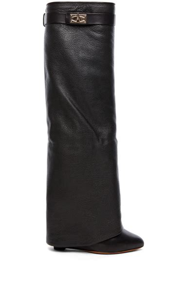 Kaos Cowok Givenchy Shark Black Givenchy Shark Lock Fold Wedge Boots In Black Fwrd