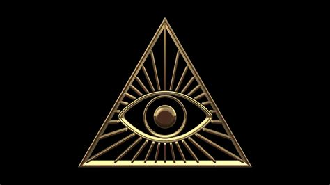 illuminati text symbol illuminati gold symbol rotation on blue background 3d