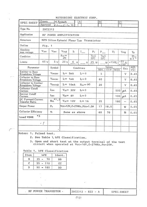 datasheet transistor rf 2sc2312 datasheet 2sc2312 pdf rf power transistor spec sheet datasheet4u