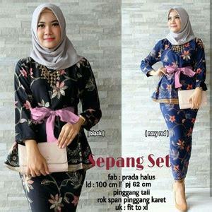 Baju Batik Wanita Setelan Kebaya Batwing Lilit Cs Mustard Termurah model kebaya kutu baru setelan dengan rok batik cantik modern