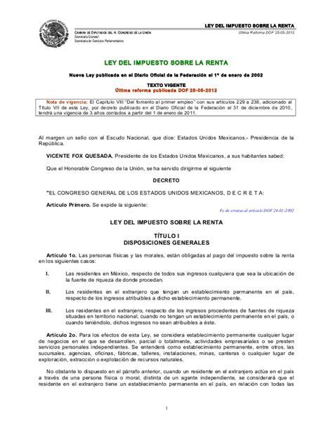 ley del impuesto sobre la renta camara de diputados isr ley de impuesto sobre la renta