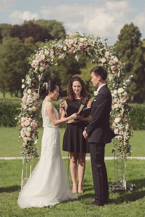 Wedding Arch Decorated With Flowers by Wedding At Chateau Bouffemont Wedding Style