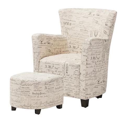 Upholstered Chair And Ottoman Sets Baxton Studio Benson Contemporary Beige Fabric Upholstered Accent Chair And Ottoman Set 28862