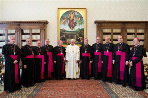 imagenes de obispos el papa recibe a los obispos espa 241 oles con un ojo en la