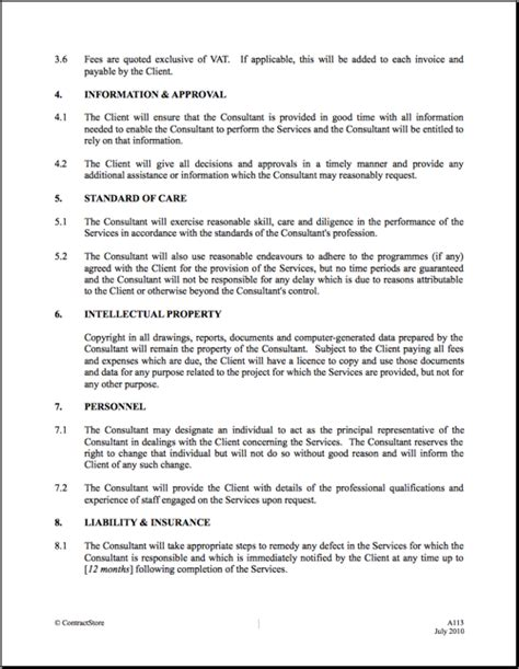 consulting terms and conditions template it consultant contract template free printable documents