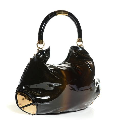 Gucci Indy Large Top Handle Bag by Gucci Patent Large Indy Top Handle Bag Bronze Black 127390