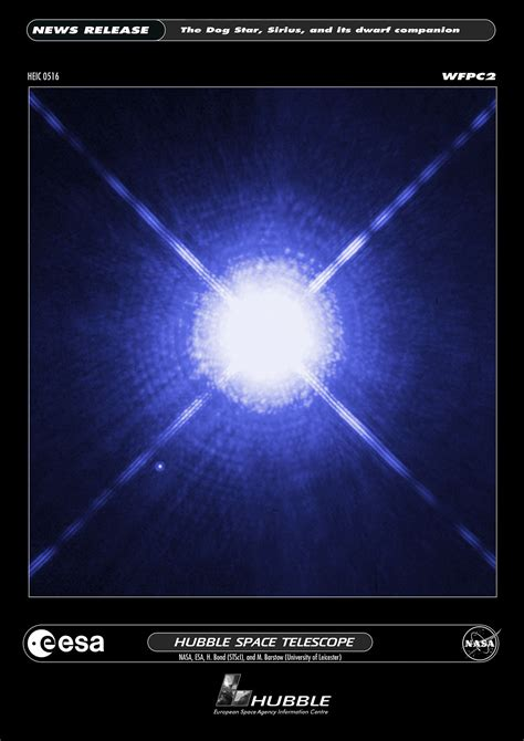 images of the sirius a and its tiny companion esa hubble