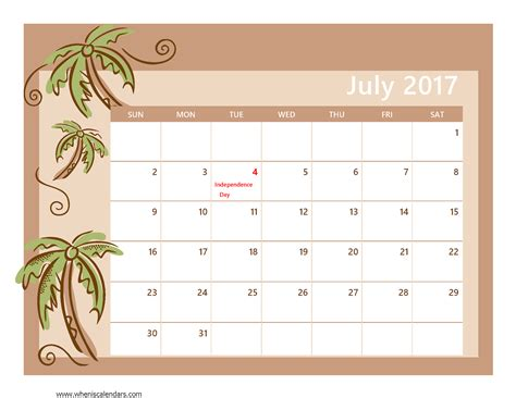 july 2017 calendar template weekly calendar template