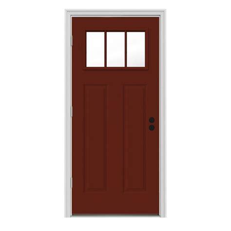 34 X 80 Interior Door Jeld Wen 34 In X 80 In 3 Lite Craftsman Mesa W White Interior Steel Prehung Right