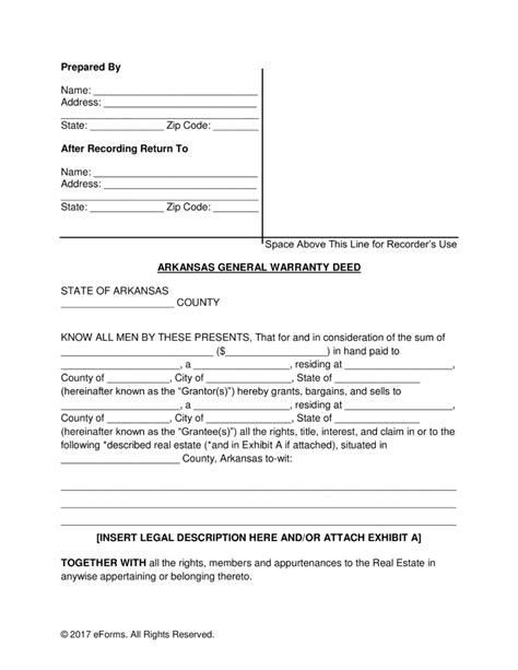 deed of conveyance template free arkansas general warranty deed form pdf word