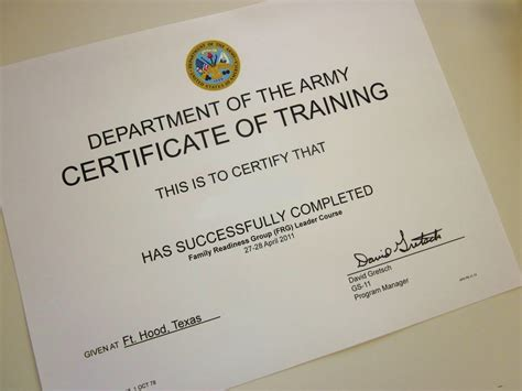 army certificate of training template training