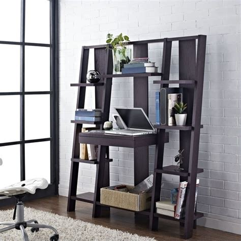 ladder bookcase with desk in espresso finish 9802196