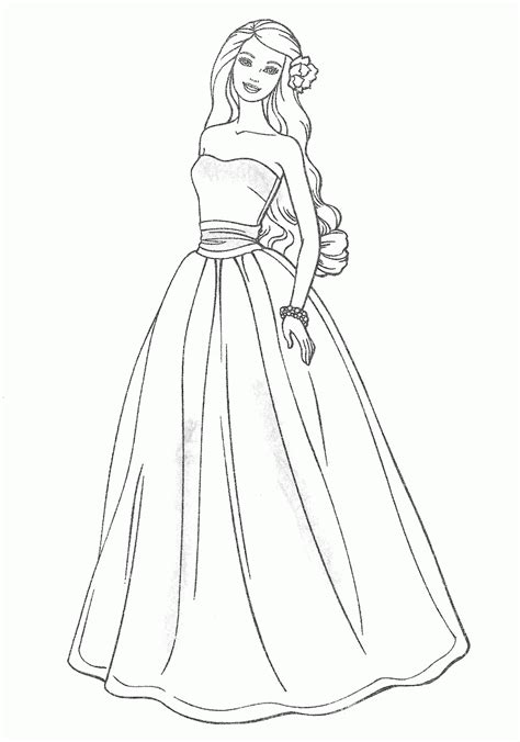 wedding dresses coloring pages for kids and for adults
