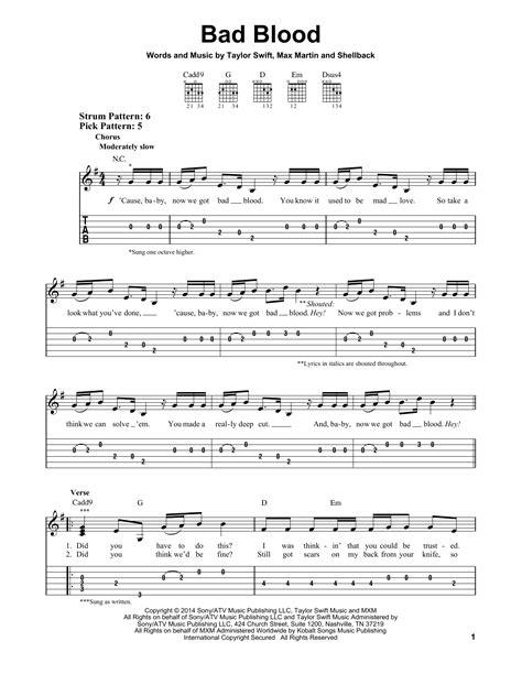 printable lyrics to bad blood bad blood sheet music direct