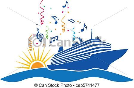 party boat clipart vectors illustration of party cruise in sea with sun