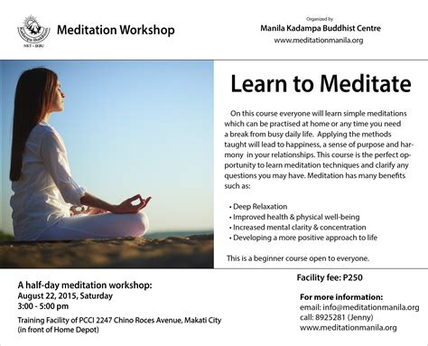 learn to meditate learn to meditate 187 manila kada buddhist centre