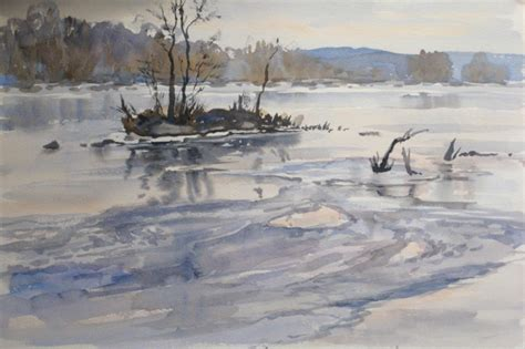 watercolor river tutorial watercolor painting demonstration winter ice potomac river