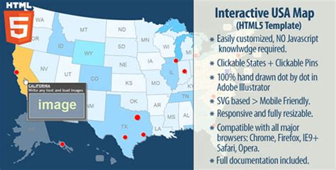 free interactive us map for website codecanyon interactive usa map html5 v2 0 1 4527698
