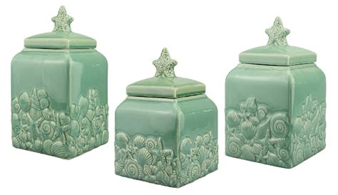 beach themed kitchen canisters coastal beach seashell ceramic teal blue canister set home