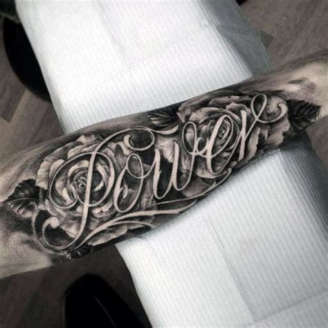 rose flowers power last name mens script forearm tattoo