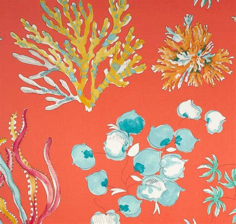 coral curtain fabric coral shower curtain ocean theme fabric by asmushomeinteriors