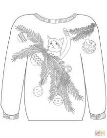 christmas ugly sweater with a cat in branches motif