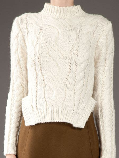white cable knit sweater cable knit sweater in white for lyst models picture