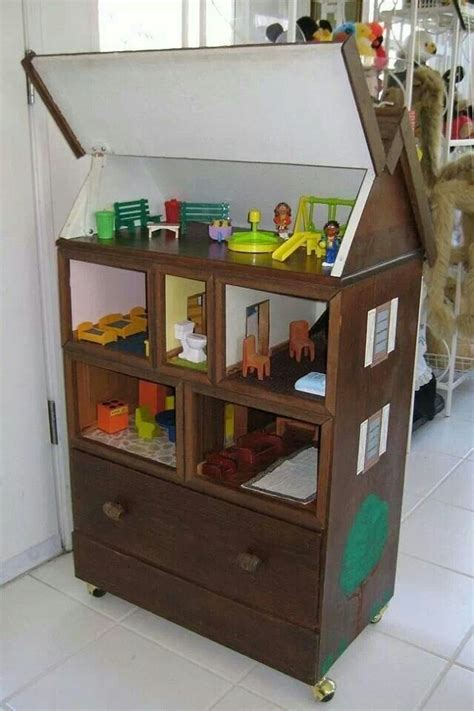 recycle your old furniture into a toy planetfem uk old chest of drawers repurposed into dollhouse with lift
