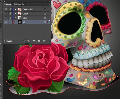 illustrator tutorial rose create quot dia de los muertos quot decorations on a skull in
