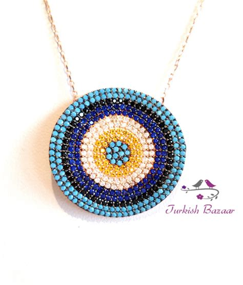 Turquoise Lava L by Turkish Evil Eye Silver Necklace With Nano Turquoise