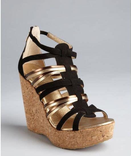 jimmy choo black suede cork wedge sandals in gold black