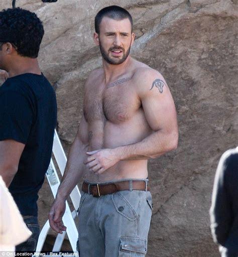 phil mattingly shirtless chris has still got his captain america abs as he