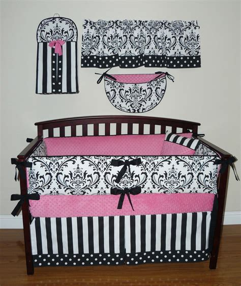 Pink And White Damask Crib Bedding Sofia Baby Crib Bedding 5pc Set Pink White And Black