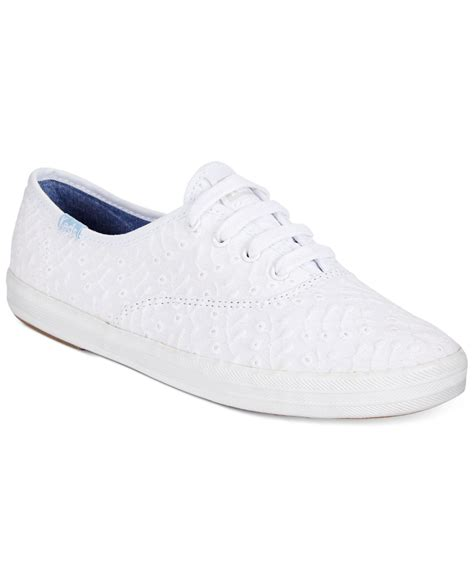 womens white sneaker keds s chion eyelet sneakers in white lyst