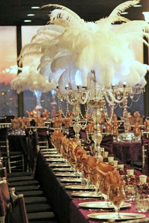Ostrich Feather, Crystal and Pearl Centerpieces   Great