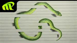 How To Make A 3d Snake Out Of Paper - 3d paper illusion snake drawing trick time lapse