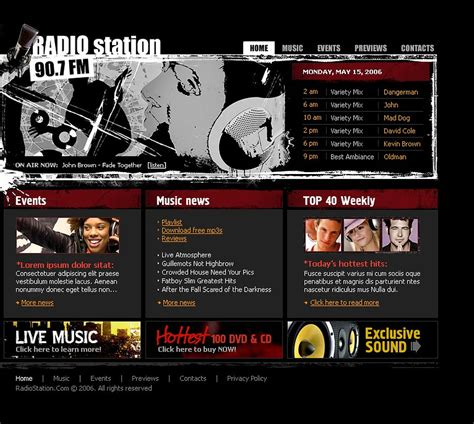radio website flash template 11418