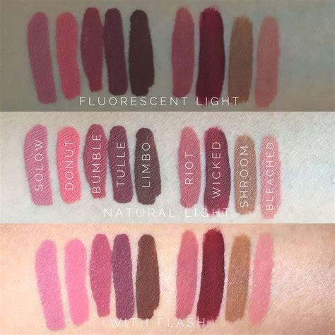 Lipstick Colourpop Mattex Jenneration X liquid lipsticks swatch l r colourpop ultra matte liquid lipsticks solow donut bumble