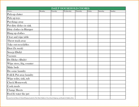 chore chart template authorization letter pdf